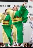 Japanese Festival dancers. Kagoshima City, Japan, April 26, 2008. Dancers in yukata kimono performing onstage in the Daihanya Festival held in Kagoshima City royalty free stock photos