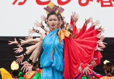Japanese Festival dancers. Kagoshima City, Japan, April 26, 2008. Dancers in blue and red costume performing onstage in the Daihanya Festival held in Kagoshima stock photos