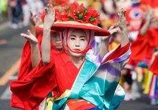 Japanese Festival Dancers in Kimono Stock Photo