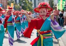 Japanese Festival Dancers in Kimono Stock Photo