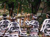 Japanese festival group. Group of men during a traditional Japanese festival-Aoba Dori Matsuri,Sendai,Japan Royalty Free Stock Image