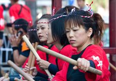 Japanese festival taiko drummers Royalty Free Stock Photo