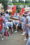 Japanese festivals. OSAKA, JAPAN - JULY 24: Swing the Ganji and the Taiko in the Tenjin Matsuri Festival on July 24, 2011 in Osaka, Japan. This is the greatest Stock Images