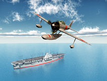 Japanese Fighter Bomber. Computer generated 3D illustration with a Japanese Fighter Bomber and a Japanese Aircraft Carrier from the second world war Stock Photos