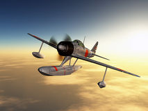 Japanese Fighter Bomber. Computer generated 3D illustration with a Japanese Fighter Bomber from the second world war Stock Photography