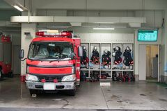 Japanese Fire brigade. Fire fighting truck and Equipment and Uniform stock photo