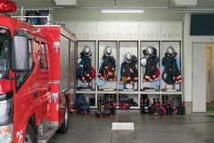 Japanese Fire brigade. Fire fighting truck and Equipment and Uniform royalty free stock images