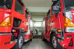 Japanese Fire brigade. Fire fighting truck and Equipment and Uniform stock photography