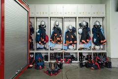 Fire brigade uniform. Japanese Fire brigade, fire fighting truck and Equipment and Uniform royalty free stock photos