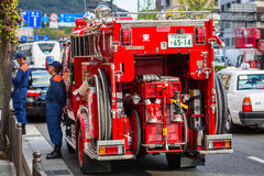 Japanese Fire Department car on the street of Kyoto Stock Image