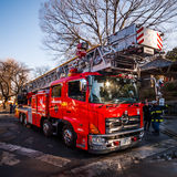 Japanese Fire Truck. Kawagoe, Japan - January 20, 2015:  A Japanese firetruck following a safety exercise Stock Image