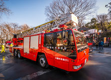 Japanese Fire Truck. Kawagoe, Japan - January 20, 2015:  A Japanese firetruck following a safety exercise Royalty Free Stock Images