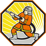 Japanese Fireman Firefighter Cartoon. Illustration of a Japanese fireman fire fighter emergency worker with fire hose done in cartoon style set inside hexagon on Royalty Free Stock Photo