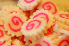 Japanese fish cake. Close up shot of japanese fish cake with pink swirls stock photography
