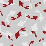 Japanese fish koi-koi. Hand drawn oriental Seamless pattern with red koi carps in vector Stock Photo
