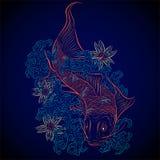 Japanese fish koi. Neon colors japanese fish koi Royalty Free Stock Photo