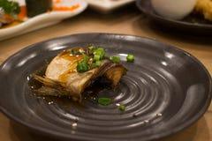 Japanese fish sushi. Fish wheel water victuals unite turn sway shuhi spin salmon rotation roller Stock Images