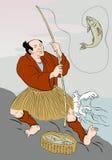 Japanese fisherman fishing catching trout fish Stock Images