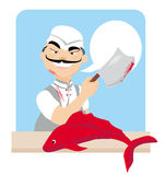 Japanese fishmonger butcher chef cook with knife holding fish. Japanese fishmonger butcher chef cook with knife holding red fish Royalty Free Stock Image