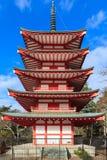 Japanese five stored pagoda near Fuji Royalty Free Stock Photography