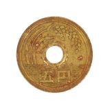 Japanese five yen coin.Isolated. Royalty Free Stock Images