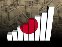 Japanese flag bar chart over Yen illustration. Japanese flag bar chart over Yen currency abstract 3d illustration Royalty Free Stock Photo