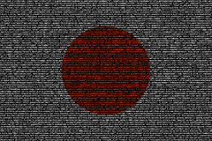 Japanese flag composed of dense computer code cybersecurity conc Stock Photo