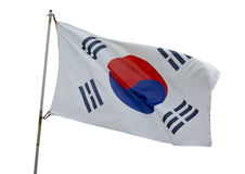 Japanese flag. Flying on a white background Royalty Free Stock Photo
