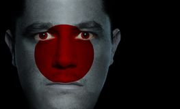 Japanese Flag - Male Face. Japanese flag painted/projected onto a man's face Stock Photography