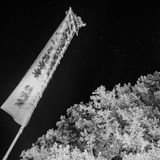 A Japanese Flag at New Years. A Japanese flag hoisted to celebrate new years, fluttering in the wind at night. Located in a Shinto shrine in Yamanashi Stock Images