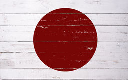 Japanese flag painted on a wooden board Royalty Free Stock Photo