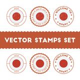 Japanese flag rubber stamps set. Royalty Free Stock Photo
