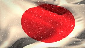 Japanese Flag Video. Japanese flag waving in the wind against snow background stock video