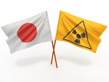 Japanese flag wiyh symbol of radiation Stock Image