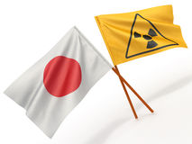Japanese flag wiyh symbol of radiation Royalty Free Stock Image
