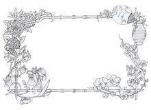 Japanese  floral frame. Composed of cherry blossoms, peonies and irises, on  white background Stock Photo