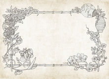 Japanese  floral frame, on parchment Stock Photos