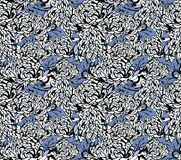 Japanese floral patterns. A blue chrysanthemum floral seamless pattern Stock Photo