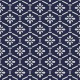 Japanese flower hexagon pattern. On black background royalty free illustration