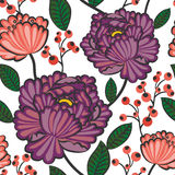 Japanese flower pattern. Seamless japanese blossom wallpaper pattern with berries Stock Photo