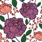 Japanese flower pattern. Seamless japanese blossom wallpaper pattern with berries stock illustration