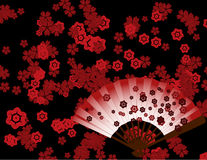 Japanese flower wallpaper with fan. Traditional Japanese sakura cherry blossom background design with fan Royalty Free Stock Photo