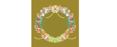 Japanese flowers circle around decorated Polygonum filiforme. Some kind of Japanese flowers around decorated Japanese cord made from twisted paper vector vector illustration