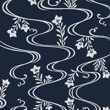 Japanese flowers flowing river pattern Stock Images