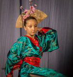 Japanese folk dance at the competition Life in dance in the town of Kondrovo, Kaluga region in Russia in 2016. Royalty Free Stock Photos