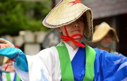 Japanese folk dancer wearing straw hat Royalty Free Stock Photos
