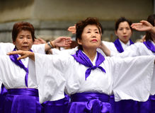 Japanese folk dancers royalty free stock images