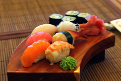 Japanese food. Dinner tasty sushi plate with wasabi stock image