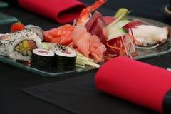 Japanese Food. Oriental Sushi Sashimi seafood Dish Royalty Free Stock Photos