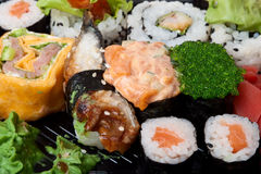 Japanese food. Traditional Japanese food as background Stock Image